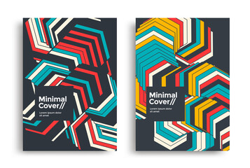 Obraz Set of geometric posters design. Dynamic striped background design for covers, flyers. Vector Line arrow graphic cover. - fototapety do salonu