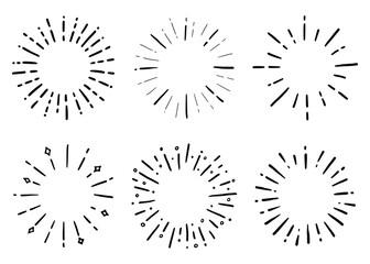 Fototapeta Hand drawn set of sunburst shine ray and sparkle. Doodle sketch style. Circle burst of sun, star. Vector illustration. obraz