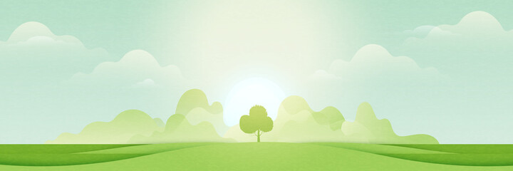 Fototapeta Landscape view of green meadows and mountains in sunny day.Flat panorama of spring summer beautiful nature forest scenic on horizon background.Vector illustration. obraz