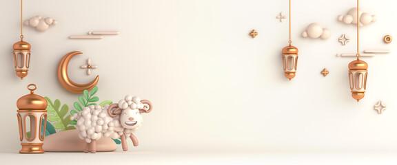 Fototapeta Eid al adha islamic decoration background with goat sheep arabic lantern crescent, ramadan kareem, mawlid, iftar, isra  miraj, eid al fitr, muharram, wide copy space text area, 3D illustration. obraz