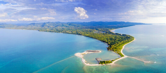 Fototapeta Aerial View of Pak Weep Beach and Coconut Beach of Khao Lak, Thailand obraz