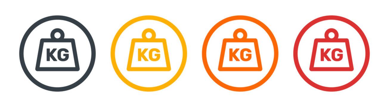 KG weight icon set. Kilogram symbols. Vector illustration