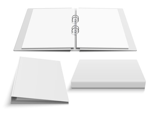 Binder with four metal ring clips. Set of various views of open and closed folder. Vector realistic isolated template illustration.