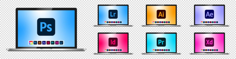 Adobe Product icons set on laptop mockup. Photoshop, Illustrator, After Effects, Indesign, Premiere, Xd, Lightroom. Creative computer software, app presentation. Vector illustration EPS 10