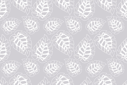 Monstera doodling leaves seamless pattern, pastel colors, white. For textiles backgrounds packaging wrapping furniture upholstery. Vector illustration