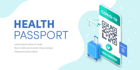 Health Vaccination passport QR code on smartphone screen vector isometric banner. 3D Electronic Covid-19 Vaccinated immune certificate for safe tourism on mobile phone concept. Coronavirus pass app