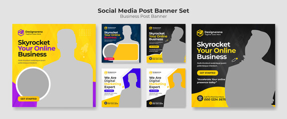Obraz Social media post templates set for Digital marketing agency vector creative shape on background. Square posts layouts for personal blog and social media post. - fototapety do salonu