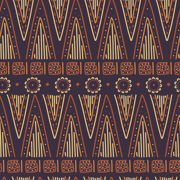 African ethnic tribal vector seamless pattern.