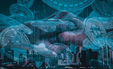 Fototapeta Grafika kryptowaluty, bitcoin, miasto i blockchain. obraz