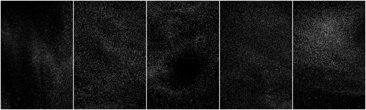 Set of distressed white grainy texture. Dust overlay textured. Grain noise particles. Snow effects pack. Rusted black background. Vector illustration, EPS 10.