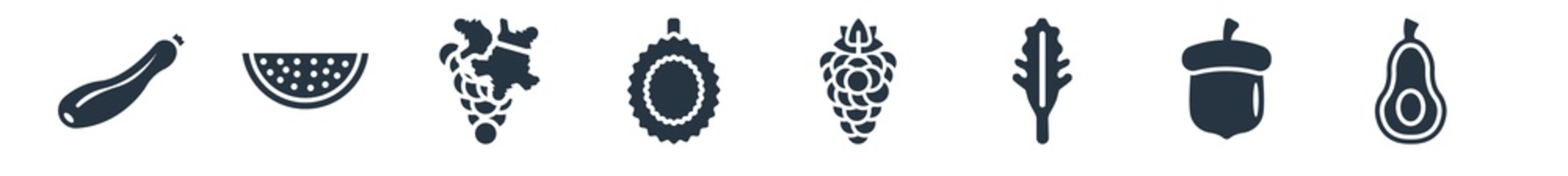 fruits filled icons. glyph vector icons such as avocado, acorn, arugula, blackberry, durian, grape, watermelon sign isolated on white background.