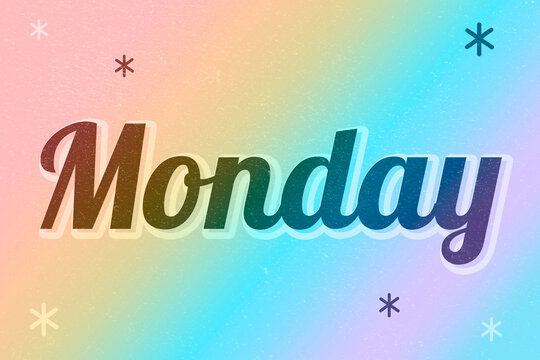 Monday retro word typography on a pink background