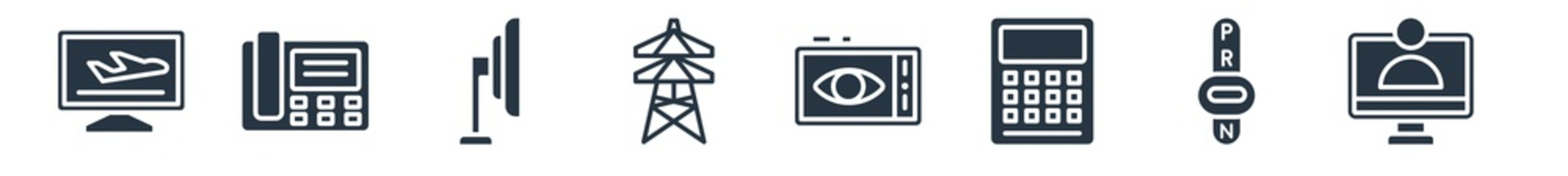 technology filled icons. glyph vector icons such as telemarketing, transmission, calculations, black eye, electric, tv side, fax phone sign isolated on white background.