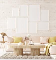 Obraz Mockup in interior background, room in light pastel colors, Scandi-Boho style, 3d render - fototapety do salonu