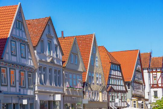 Häuserzeile in der Krummen Straße in Detmold, Nordrhein-Westfalen