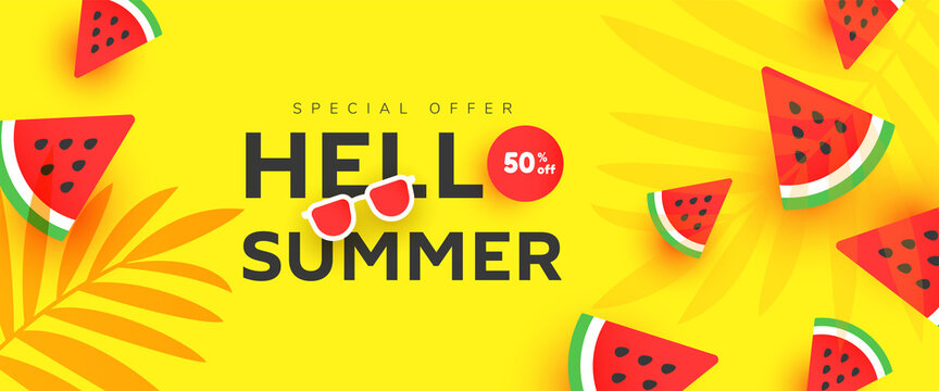 Hello Summer sale 50 banner with ripe watermelon slices pattern on yellow background with copy space for store marketing promotion.