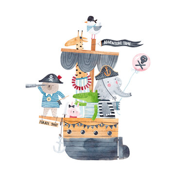 Pirate ship. Watercolor poster. Illustration of a pirate ship with cute animal travelers. Friends pirates on a sea adventure. Isolated on white background.