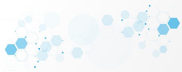 Geometric abstract background with blue hexagons. Structure molecule and communication. Science, technology and medical concept. Vector illustration
