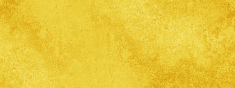 Yellow abstract stone concrete paper texture background banner panorama.