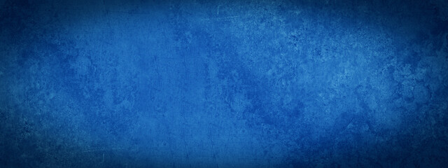 Obraz Dark blue abstract stone concrete paper texture background banner panorama with vignette. - fototapety do salonu