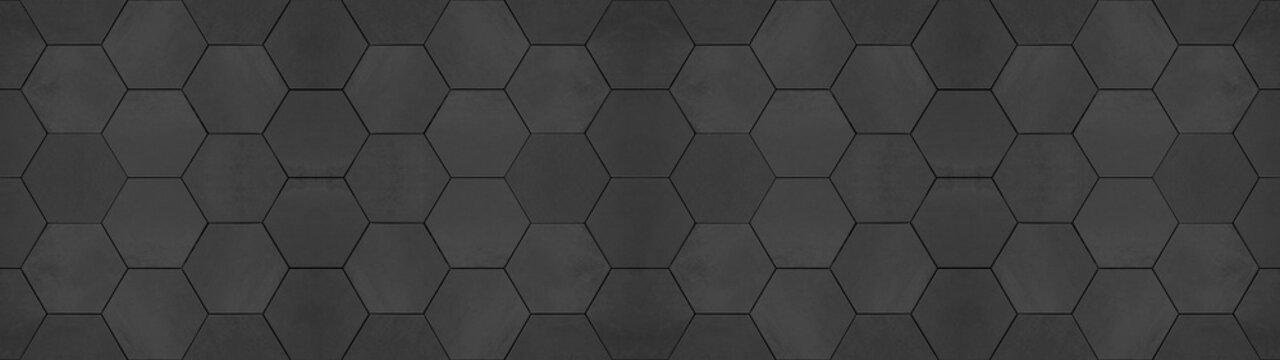 Black anhracite modern tile mirror made of hexagon tiles texture background banner panorama.