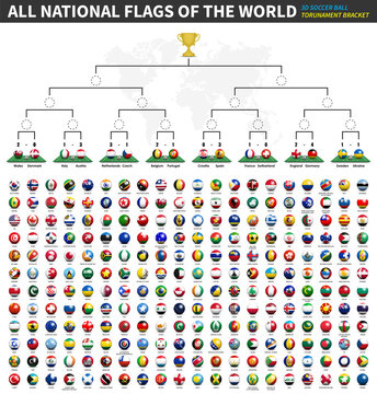 All national flags of the world . Tournament brackets of soccer cup champions league . 3D ball and flag pattern on perspective view football field . Dotted world map background . Sports vector .