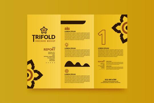 Minimal business trifold brochure mockup for your design