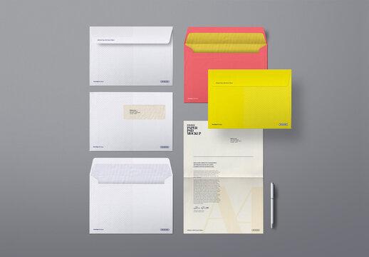 Windowed Envelope Mockup Folded Paper Scene