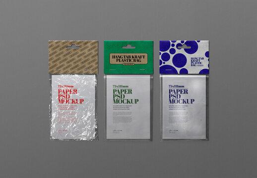 Kraft, Plastic Bag Hang Tab Mockup