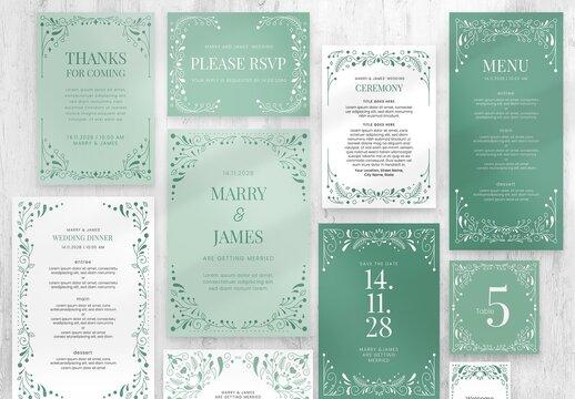 Wedding Suite Layout Mint Green Set