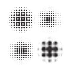 Obraz Halftone circles, halftone dot pattern texture set on white background - fototapety do salonu