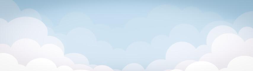 Fototapeta blue sky with clouds illustration design banner on summer holiday obraz