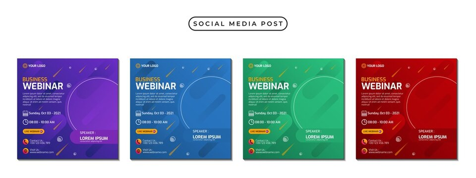 Collection of social media post banner templates. Perfect for business webinars, marketing webinars, online class programs, etc.