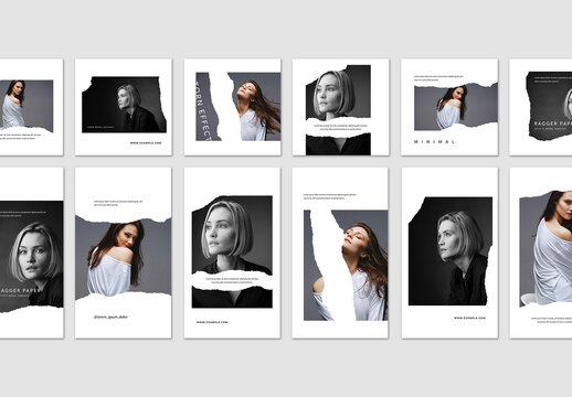 Minimal Social Post Layouts with Torn Paper Effect