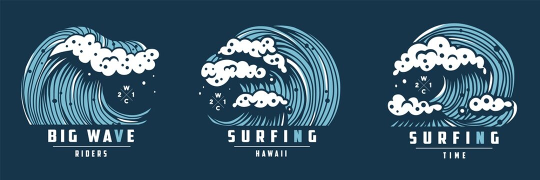 Surfing hawaii wave with foam for print. Logo of summer marine tide. Wavy sea or ocean for nautical t-shirt design