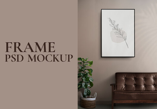 Picture Frame Sofa Mockup on the Wall