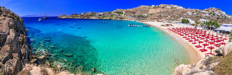 Greece summer holidays. Cyclades .Most famous and beautiful beaches of Mykonos island - Super Paradise beach famous for beach parties ,with crystal celar waters