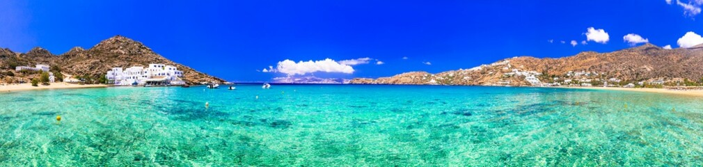 Greek summer holidays. Best beaches of Ios island Mylopotas with crystal clear waters. Creece, Cyclades