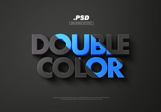 Double Color 3D Text Effect
