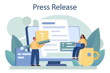 Fototapeta Press release concept. Mass media publishing, daily news broadcasting. obraz