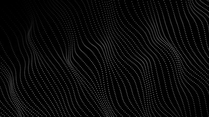Obraz Wave of particles. Futuristic point wave. Vector illustration. Abstract background with a dynamic wave. Wave 3d. - fototapety do salonu