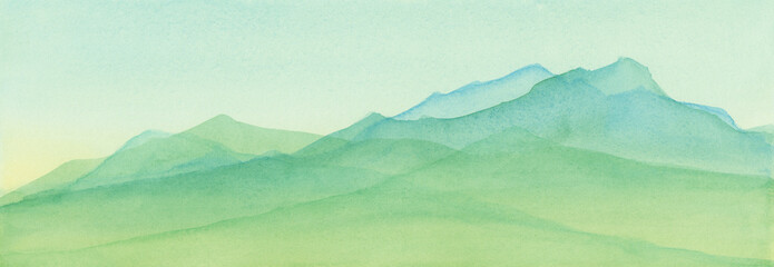 Obraz Mountains in blue green watercolor painted illustration, mountain range background, scenic landscape for travel or tourism background, nature and outdoors illustration - fototapety do salonu