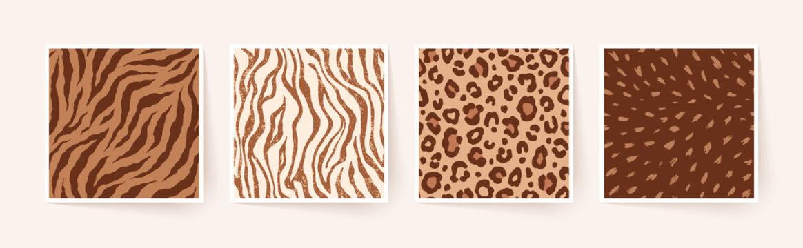 Set of animal monochrome seamless patterns. Vector animal skin prints. Fashion stylish organic textures.