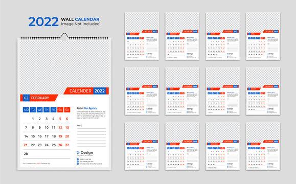 2022 wall calendar template, schedule calendar yearly business planner, timetable, events calendar, desk calendar
