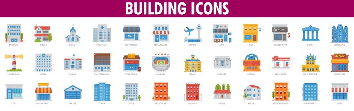 House vector logo design template. estate or building icons. Buildings Icons. Building Icons Set