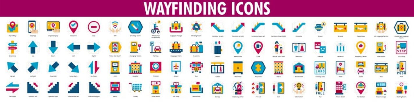 Wayfinding icons. Wayfinding Icons Set.