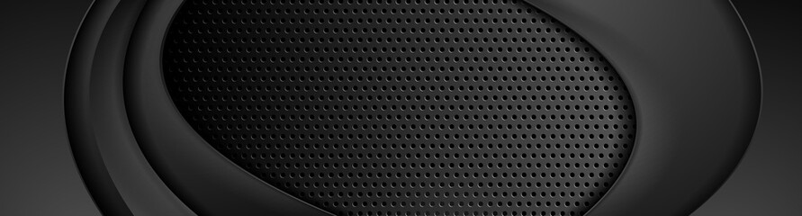 Abstract black smooth waves on dark perforated metallic background. Technology vector banner design