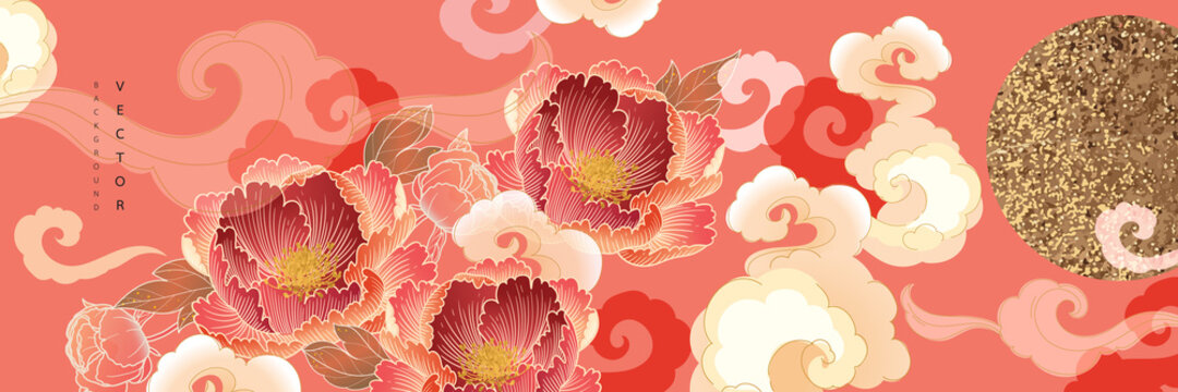 Asian background ,Oriental Chinese and Japanese style abstract pattern background design  with peony flower decorate in water color texture