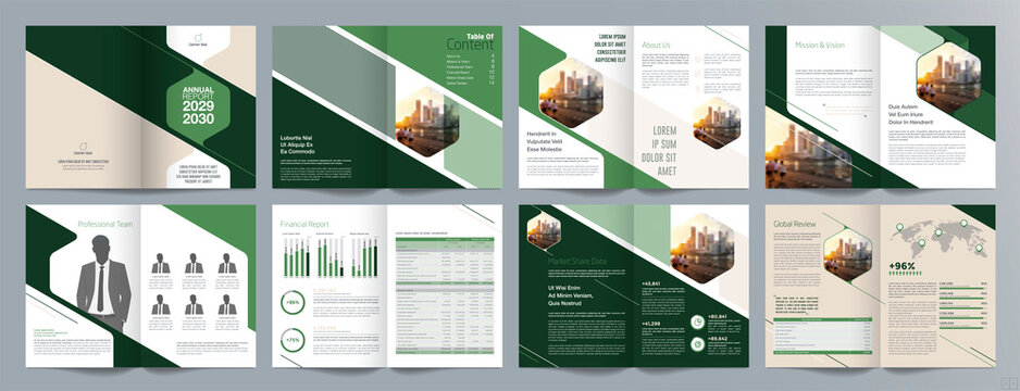 Corporate business presentation guide brochure template, Annual report, 16 page minimalist flat geometric business brochure design template, A4 size.