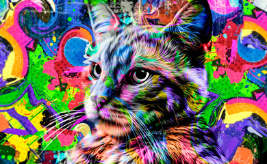 maine coon colorful artistic cat muzzle with bright paint splatters on white background.